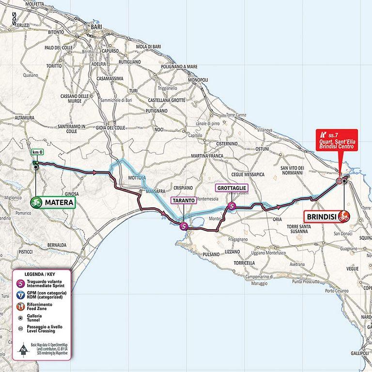 Cartina Italia Brindisi.Giro D Italia 7ª Tappa Matera Brindisi Ciclismo Rai Sport